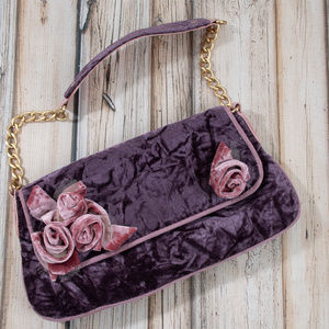 Purple Velvet Chain Clutch Boho Handbag